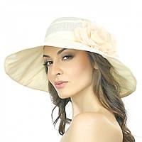 Бежевая летняя женская шляпа с цветком Brezza