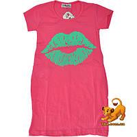"""Стильная летняя туника """"Sweet Lips"""" , из трикотажа , для девочки (5-8 лет) 4 ед. в уп."""