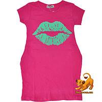 """Оригинальная летняя туника """"Sweet Lips"""" , из трикотажа , для девочек (5-8 лет) 4 ед. в уп."""