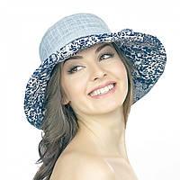 Серая летняя женская шляпа Brezza с синим рисунком