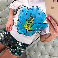 ЖЕНСКИЙ костюм с джинсовыми шортами и пайетками (разные цвета)