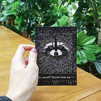 Открытка оригинальная Енот,открытки ручной работы