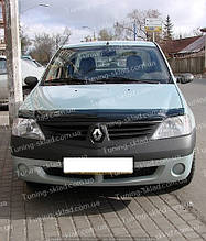 Дефлектор Рено Логан 1 (мухобойка на капот Renault Logan 1)
