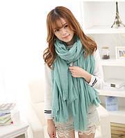 Однотонный шарф -платок Зеленый