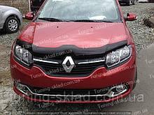 Дефлектор Рено Логан 2 (мухобойка на капот Renault Logan 2)
