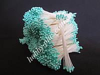 Тайские тычинки, БИРЮЗОВЫЕ, мелкие круглые на белой нити,  23-25 нитей, 50 головок