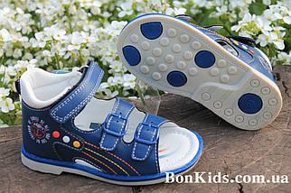 Ортопедические синие босоножки для мальчика высокий жесткий задник ТомМ размеры 21, фото 2