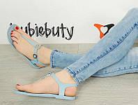 Резиновые женские сандалии, голубого цвета  размеры 37-39