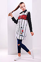 Длинная женская рубашка с модным принтом Moschino сорочка Марена д/р