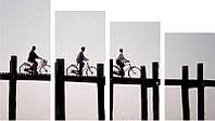 "Модульная картина ""Велосипедисты""  (1000х550 мм)  [4 модуля]"