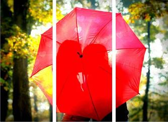 "Модульная картина ""Любовь под зонтом""  (960х700 мм)  [3 модуля]"