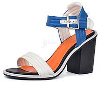 Босоножки женские на широком каблуке белые с синим Vices Польша, Синий, 39