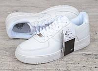 Кроссовки мужские кожаные белые Nike Air force 1 low прошитые Вьетнам, Белый, 45
