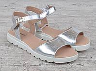 Босоножки женские кожаные серебро на платформе Great Shoes, Серебряный, 40
