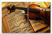 "Модульная картина ""Скрипка и ноты""  (1000х1550 мм)  [3 модуля]"