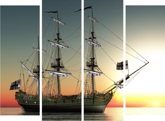 """Модульная картина """"Корабль на закате""""  (1500х1100 мм)  [4 модуля]"""