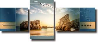 """Модульная картина """"Морская чайка на закате""""  (500х1190 мм)  [3 модуля]"""