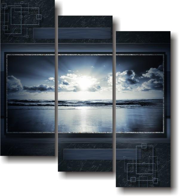 "Модульная картина ""Морские волны""  (1200х1090 мм)  [3 модуля]"