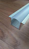 Врезной алюминиевый профиль для LED ленты глубокий + рассеиватель матовый или прозрачный, фото 1