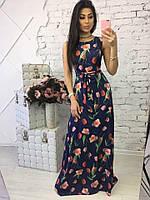Длинное темно-синее платье в пол на выпускной