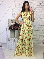 Длинное нарядное платье с цветочным принтом