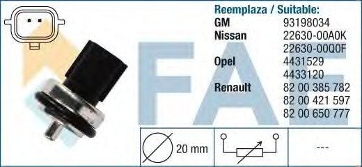 Датчик температуры охл. жидкости на Renault Trafic  06->  2,0 / 2,5dCi  —   Fae (Испания) - FAE33811