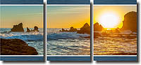 """Модульная картина """"Солнце и море""""  (370х820 мм)  [3 модуля]"""