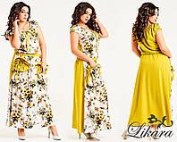 Женское желтое длинное летнее платье больших размеров