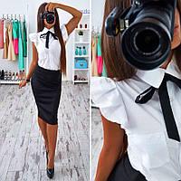 Стильный молодежный женский костюм белая блузка и черная юбка В20288