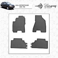 Комплект резиновых ковриков Stingray для автомобиля  Kia Sportage II JE 2005-2010     4шт.