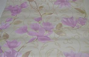 Обои для стен шпалери бежеві квіти рожеві паперові розовые цветы бумажные 0,53х10м., фото 3