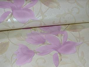 Обои для стен шпалери бежеві квіти рожеві паперові розовые цветы бумажные 0,53х10м., фото 2