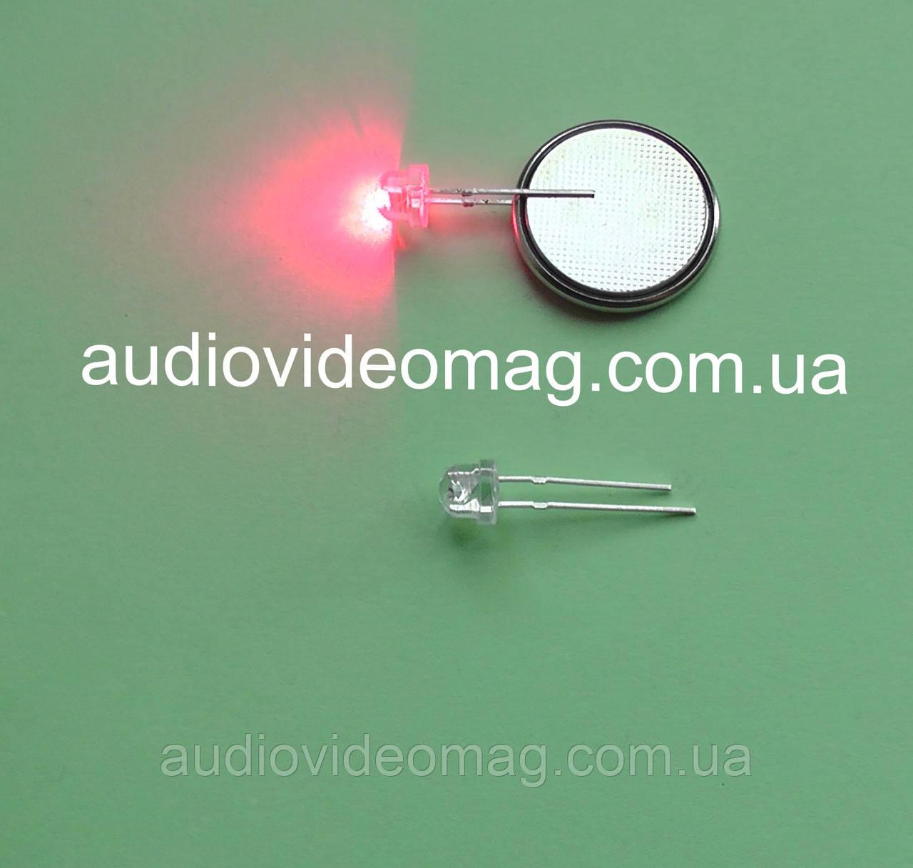 Светодиод 3V 4,8 мм, цвет - красный