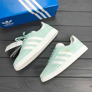 Женские кроссовки Adidas Gazelle Mint топ реплика, фото 2