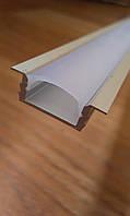 Врезной профиль для светодиодной ленты + рассеиватель матовый или прозрачный, фото 1