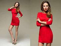 Мини платье-футляр с рукавом три-четверти, материал - трикотаж дайвинг. Разные цвета и размеры. Розница, опт.