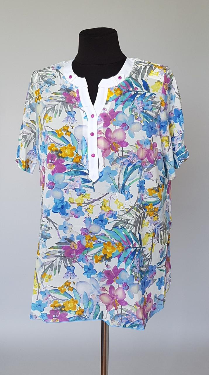 Летняя женская цветочная блуза большого размера
