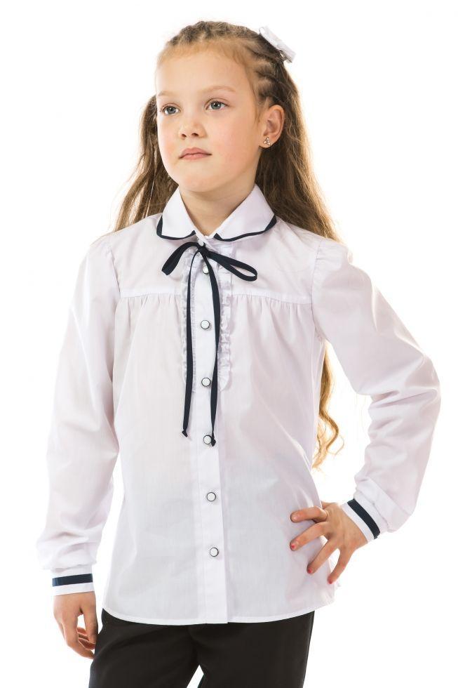 """Блуза школьная 17-125 с длинным рукавом для девочки 8-11 лет (р. 128-146, рубашечный котон) ТМ Kids Couture Белый - Интернет-магазин """"Все для Детей"""" в Киеве"""