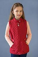 Детская демисезонная стеганая жилетка для девочки 4-8 лет р. 110-128 ТМ Модный карапуз Марсала 03-00635-0