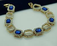 Синий красивый браслет из камней 1082