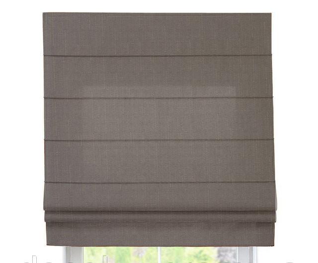 Римская штора с тканью Лен Серый ширина 130 см /высота 160 см
