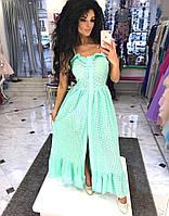 Платье - сарафан на пуговицах Ткань: поплин прошва, цвет белый, розовый,мята ,фото реал  дпог №83-20