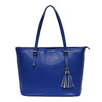 Женская  сумка из натуральной кожи фабричная (отшита  в Италии) синего цвета, на две ручки, с помпоном
