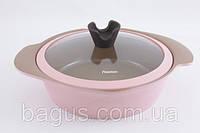 Кастрюля низкая 24 х 7 см / 2.6 л со стеклянной крышкой Fissman Azalea (AL-4804.24)
