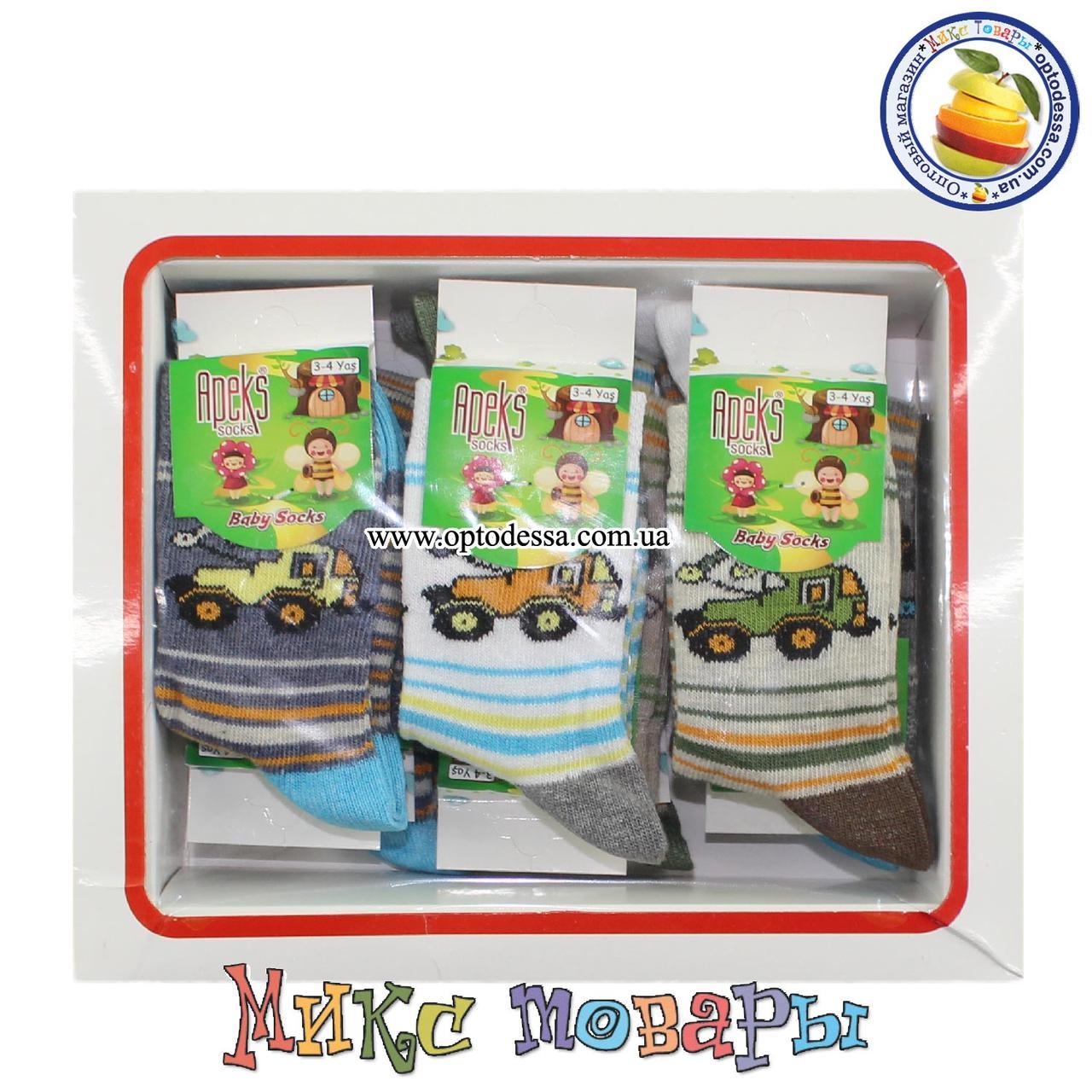 Носки с трактором для мальчиков Размер: 3- 4 года (12 шт в упаковке) (5279)