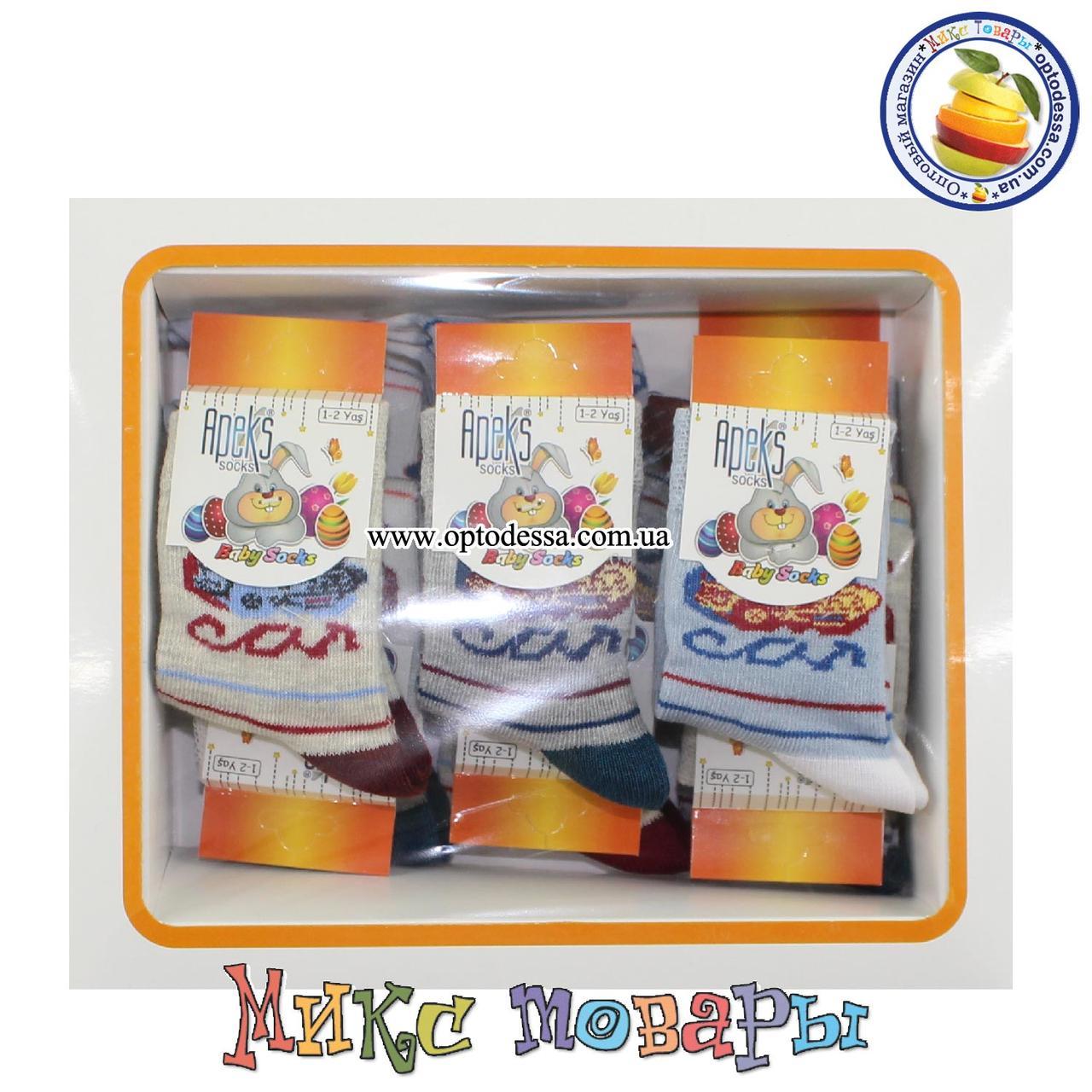 Носки с машинкой для малышей Размер: 3- 4 года (12 шт в упаковке) (5280-1)