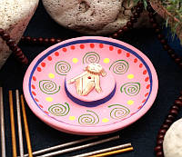 "Подставка под благовония терракотовая тарелка ""Обезьянка"" розовая"
