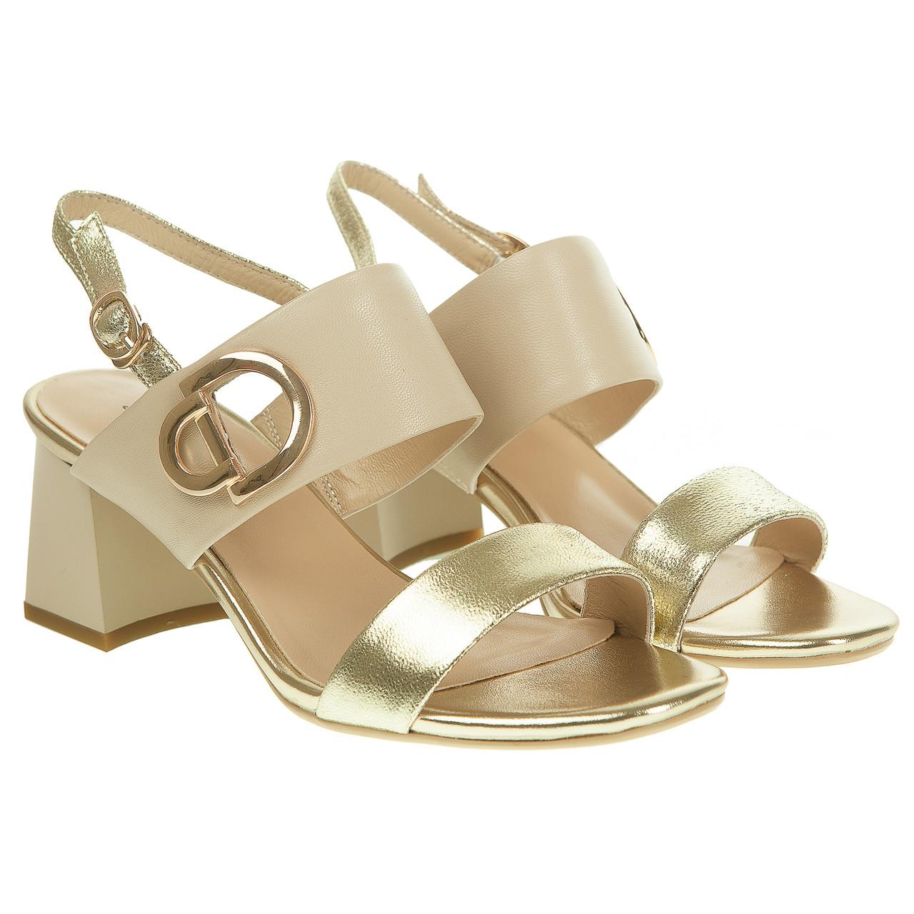3eb214d3e Босоножки женские Lady Marcia (стильное сочетание бежевого и золотистого  цвета, на широком каблуке, кожаные)