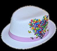 """Шляпа детская """"Сердце из Бабочек""""  красивая на  девочку  для праздника или утренника в детский сад"""