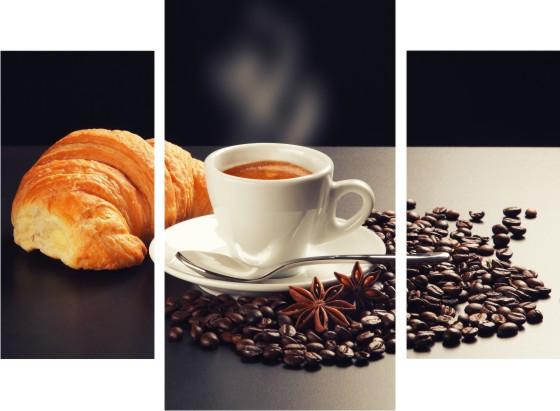 "Модульная картина ""Кофе и круассан""  (800х1100 мм)  [3 модуля]"